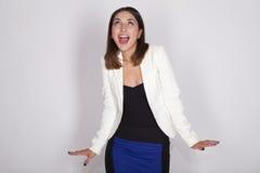 Vrouw met actieve uitdrukkingen stock afbeelding