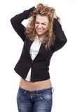 Vrouw met actieve uitdrukkingen royalty-vrije stock foto