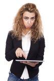 Vrouw met actieve uitdrukkingen Stock Foto's