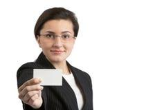 Vrouw met Adreskaartje stock foto's