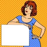 Vrouw met afficheplaats voor grappige de wijnoogst van het tekstpop-art stock illustratie