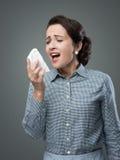 Vrouw met allergie royalty-vrije stock foto's