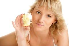 Vrouw met appel Stock Afbeeldingen
