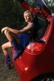 Vrouw met auto royalty-vrije stock foto's
