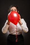Vrouw met ballon stock foto
