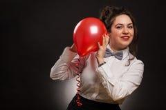Vrouw met ballon stock fotografie
