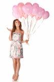 Vrouw met ballons Royalty-vrije Stock Afbeelding