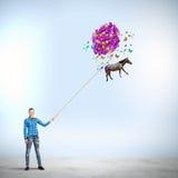 Vrouw met ballons Royalty-vrije Stock Fotografie