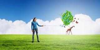Vrouw met ballons Stock Fotografie