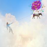 Vrouw met ballons Stock Afbeeldingen