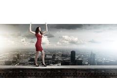 Vrouw met banner Royalty-vrije Stock Afbeeldingen