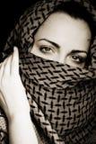Vrouw met behandeld gezicht Stock Afbeelding