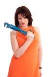 Vrouw met blauwe moersleutel Stock Afbeelding