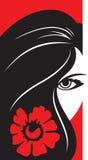 Vrouw met bloem stock illustratie