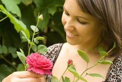 Vrouw met bloem Royalty-vrije Stock Foto