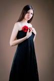 Vrouw met bloem royalty-vrije stock foto's