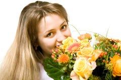 Vrouw met bloemen stock foto's