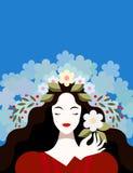 Vrouw met bloemen in haar royalty-vrije illustratie