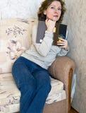 Vrouw met boek Royalty-vrije Stock Fotografie
