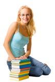 Vrouw met boeken Stock Foto's