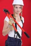 Vrouw met boltcutters Stock Afbeelding