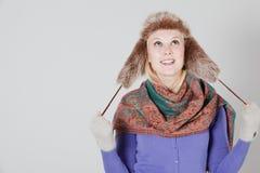 Vrouw met bonthoed Royalty-vrije Stock Fotografie