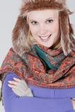 Vrouw met bonthoed Royalty-vrije Stock Foto