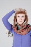 Vrouw met bonthoed Royalty-vrije Stock Foto's