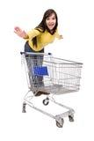 Vrouw met boodschappenwagentje Stock Afbeelding