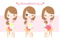 Vrouw met borst die - voeden vector illustratie
