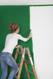 Vrouw met borstel op ladder stock foto
