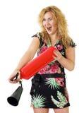 Vrouw met brandblusapparaat Royalty-vrije Stock Afbeelding