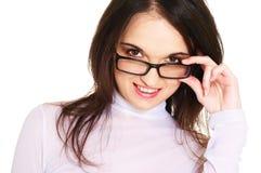 Vrouw met bril Stock Afbeeldingen