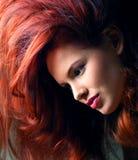 Vrouw met buitensporig kapsel Stock Foto's