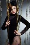 Vrouw met burlesk kunstgezicht - Royalty-vrije Stock Foto's