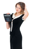 Vrouw met calculator Stock Afbeeldingen