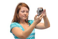 Vrouw met camera Stock Foto