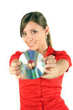 Vrouw met CD of DVD Royalty-vrije Stock Foto's