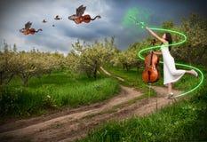 Vrouw met cello en draakviolen Royalty-vrije Stock Fotografie