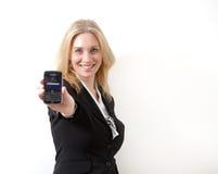 Vrouw met celtelefoon Stock Foto