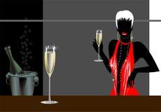 Vrouw met champagne Royalty-vrije Stock Afbeelding