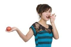 Vrouw met chocolade en appel Royalty-vrije Stock Foto's
