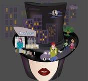 Vrouw met Cilinder met Stadscollage. Stedelijke Nachtachtergrond Stock Foto's