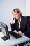 Vrouw met computer Stock Foto