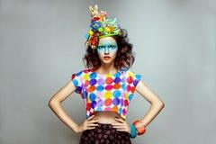 Vrouw met creatieve pop-artmake-up Royalty-vrije Stock Afbeelding