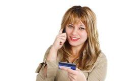 Vrouw met creditcard Royalty-vrije Stock Foto's