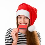 Vrouw met creditcard op Kerstmis Royalty-vrije Stock Fotografie