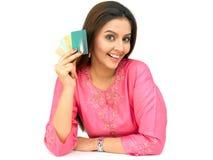 Vrouw met creditcards Royalty-vrije Stock Fotografie