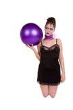 Vrouw met de bal Royalty-vrije Stock Afbeelding