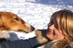 Vrouw met de hond stock foto's